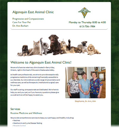 algonquineastanimalclinic.ca home page