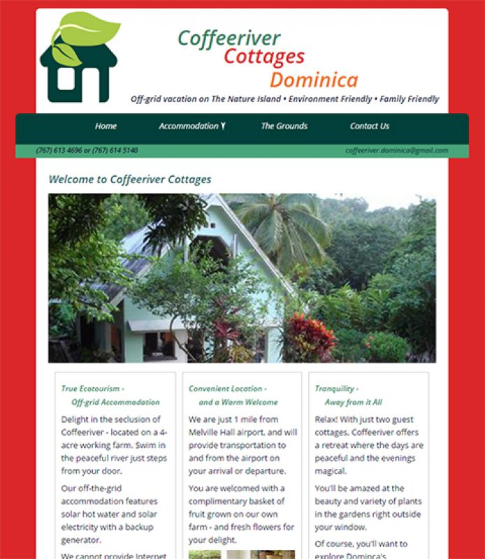 Home page of the Coffee River Cottages website