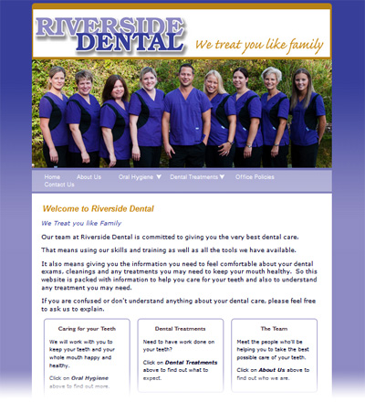Riverside Dental website home page