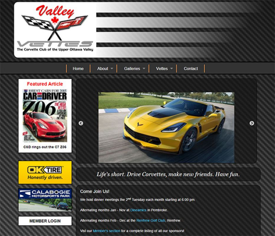 Car-focused page with slideshow of corvettes (of course).