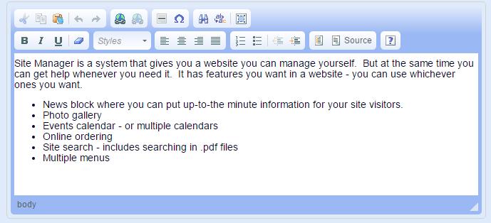Site Manager Support ~ Older CK Editor